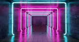 Fototapeta Do przedpokoju - Abstract Futuristic Sci Fi Concrete Room With Different Glowing Neon Lights And Reflections  Space For Text 3d Rendering