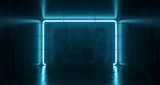 Fototapeta Scene - Abstract Futuristic Sci Fi Concrete Room With Different Glowing Neon Lights And Reflections  Space For Text 3d Rendering