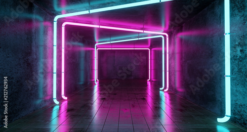 Abstract Futuristic Sci Fi Concrete Room With Different Glowing Neon Lights And Fotobehang