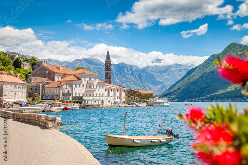Spoed Fotobehang Europa Historic town of Perast at Bay of Kotor in summer, Montenegro