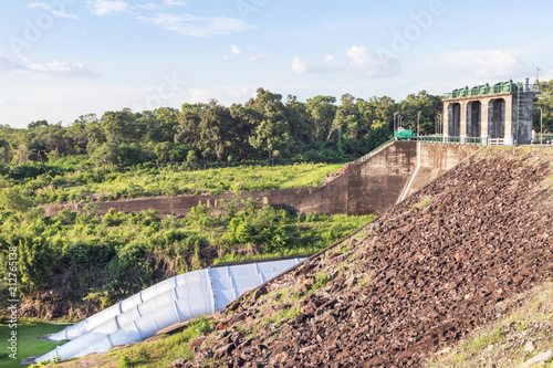 Foto op Aluminium Dam view of spillway gate with big tubes at sirindhorn dam,ubonratchathani province,thailand