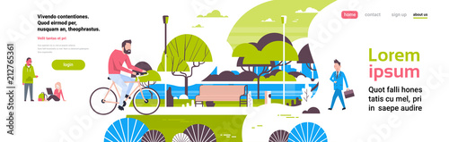 Poster Blanc man cycling bike city park people activities green lawn trees wooden bench river landscape background copy space banner flat vector illustration