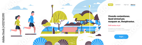 Fotobehang Wit woman man couple running city park green lawn trees river wooden bench landscape background copy space flat banner vector illustration
