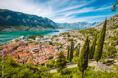 Spoed Foto op Canvas Europa Historic town of Kotor with Bay of Kotor in summer, Montenegro
