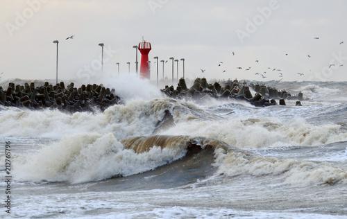 Fotografia Sztorm na morzu Bałtyckim,Kołobrzeg