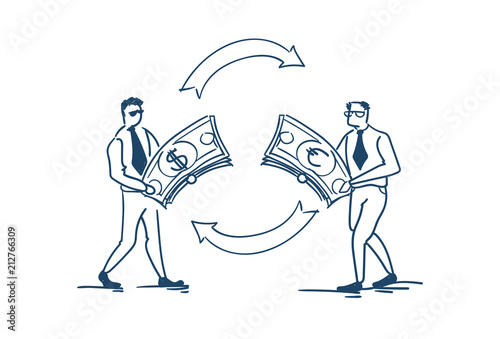 Businessman Change Money Dollar Euro Currency Exchange Concept On White Background Sketch Doodle Vector Ilration