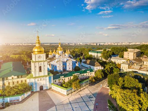 Foto op Plexiglas Kiev St. Michael's Golden-Domed Monastery in Kiev Ukraine. View from above. aerial photo fron drone