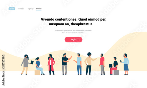 mix race people group character communicating concept white background full length horizontal copy space flat vector illustration