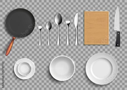 Fototapeta Set of ceramic plates and kitchen utensils. obraz