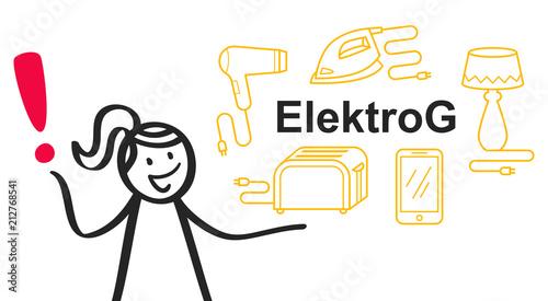 Elektrog Elektrogeräte Gesetz Strichmännchen Frau Mit