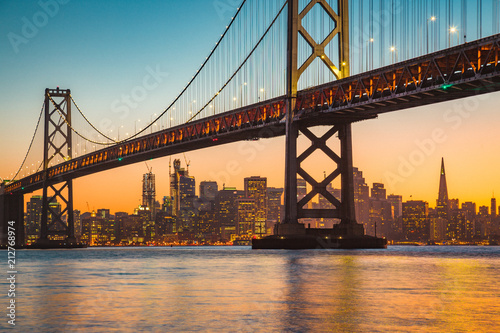 Canvas Prints San Francisco San Francisco skyline with Bay Bridge at sunset, California, USA