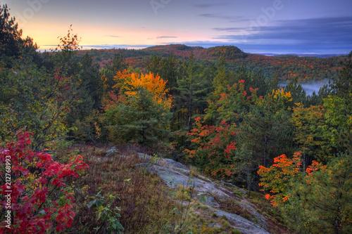 Sunrise over autumn foliage at Algonquin, Canada Canvas Print