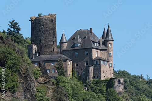 Poster Historisch geb. The Maus Castle in the Middle Rhine Valley near Sankt Goarshausen, Germany
