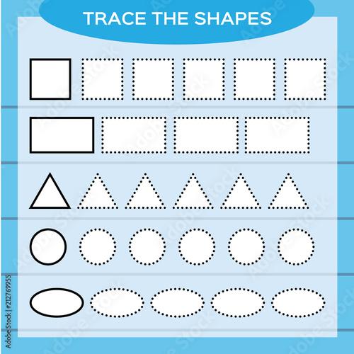 Trace The Shapes. Kids Education. Preschool Worksheet. Basic Writing. Kids  Doing Worksheets. Fine Motor Skills. White Shapes And Blue Background.  Square, Rectangle, Circle E.t.c Stock Vector Adobe Stock