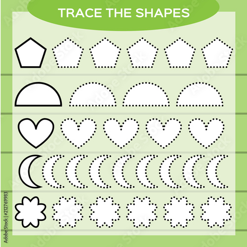 Trace The Shapes. Kids Education. Preschool Worksheet. Basic Writing. Kids  Doing Worksheets. Fine Motor Skills. White Shapes And Green Background.  Heart, Pentagon, Flower E.t.c Stock Vector Adobe Stock