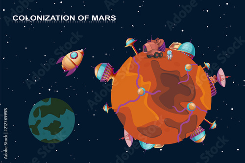 Fényképezés Vector cartoon mars colonization concept
