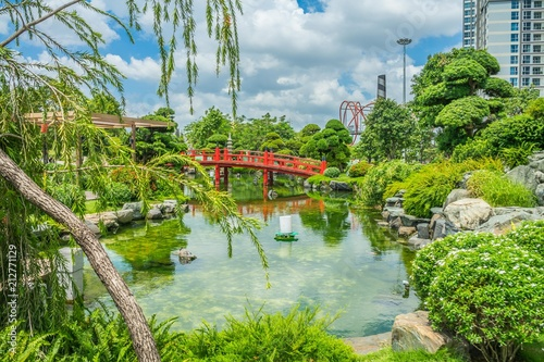 Garden view of Vinhomes Central Park in Ho Chi Minh City, Vietnam ...