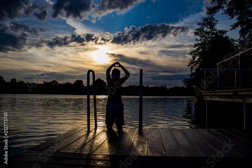 Plakát  Schwimmen, See, Abendsonne