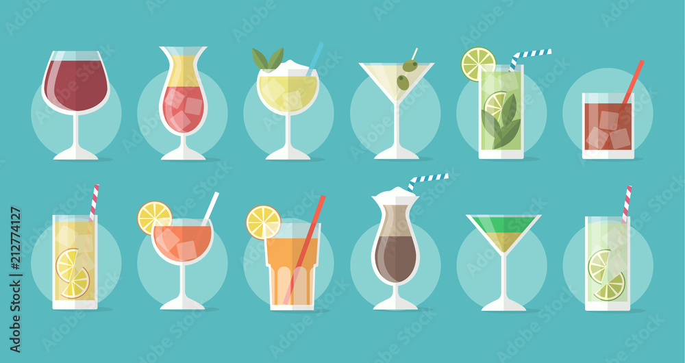 Fototapety, obrazy: Cocktail collection in flat style - set of illustrations with different drinks and cocktails