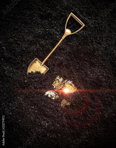 Fotografie, Tablou  Concept of digging bitcoin