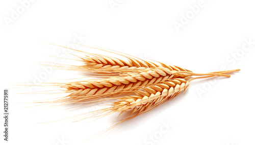 Valokuvatapetti Wheat ears corn isolated on a white background