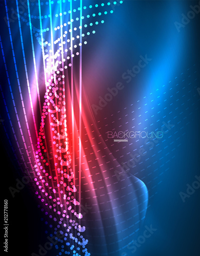 Photo  Smooth light effect, straight lines on glowing shiny neon dark background