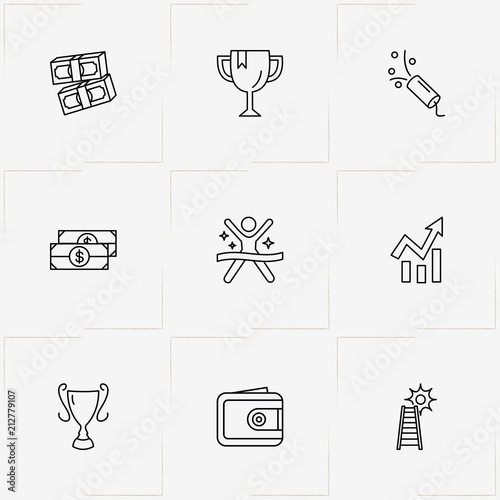 Fotografija  Success line icon set with ladder , trophy and petard