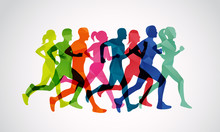 Marathon Runners Vector Template