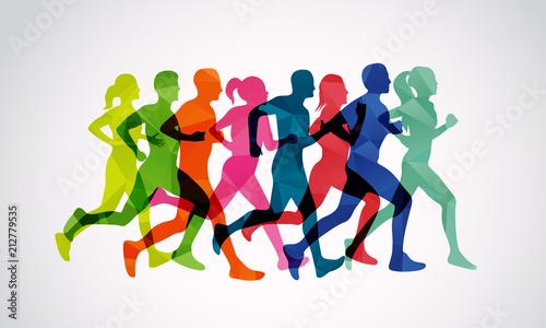 Fotografie, Obraz  Marathon runners vector template