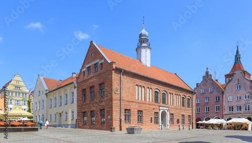 Olsztyn, Poland - Late gothic Old Town Hall on Old Town Market Square. There are sundials on walls