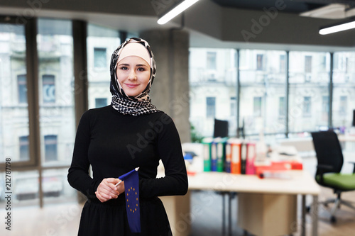 Muslim asian woman with the european flag.