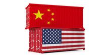 USA And China Trade War. US Of America And Chinese Flags Containers Isolated On White Background. 3d Illustration