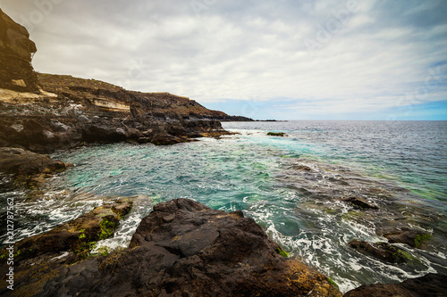 Papiers peints Lieu d Europe Tenerife, Canary islands, Spain - view of the beautiful Atlantic ocean coast with rocks and stones