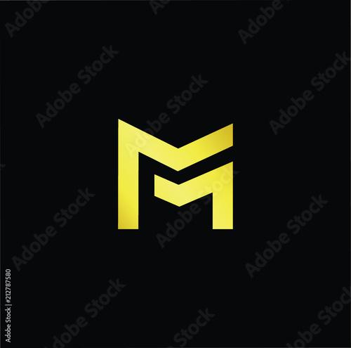 abstract letter m mm minimal logo design template vector letter