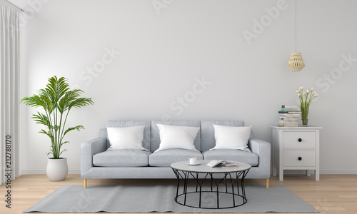 Fotomural  grey sofa and lamp in white living room, 3D rendering