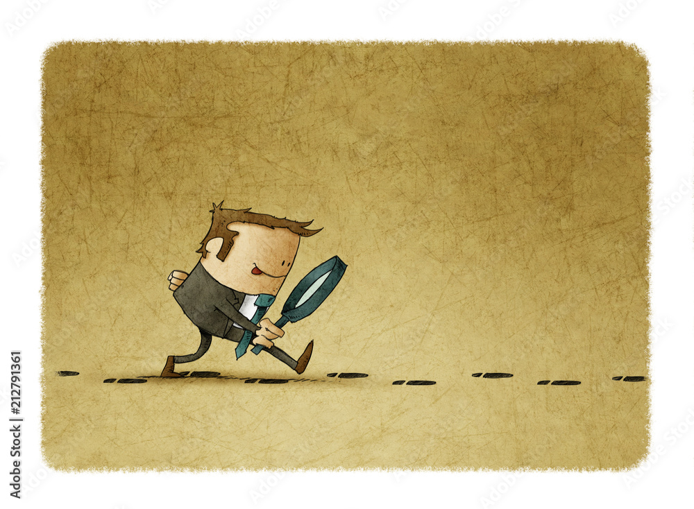 Fototapeta businessman with a magnifying glass investigate suspicious footprints