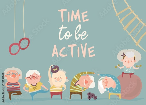 Kreskówka starszych ludzi robi ćwiczenia