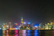 Hong Kong city skyline with light show and reflection, from Kowloon