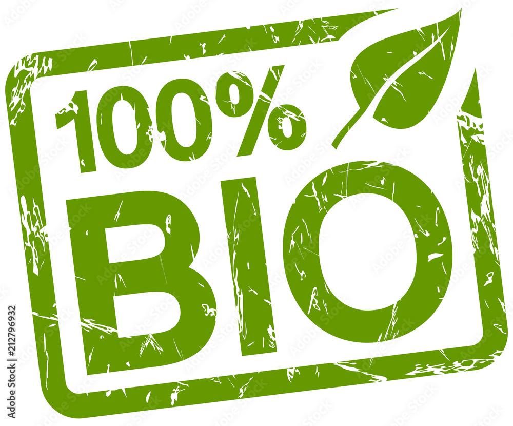 Fototapeta green stamp with text 100% BIO