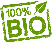Green Stamp With Text 100% BIO