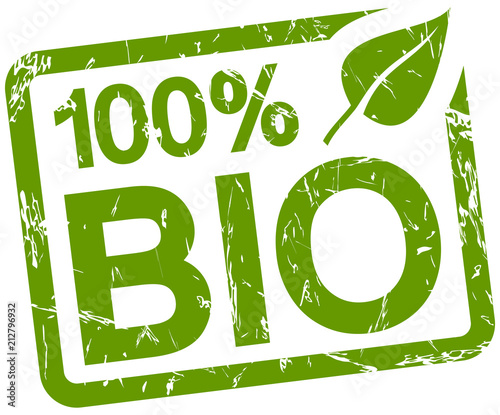 Fototapeta green stamp with text 100% BIO obraz