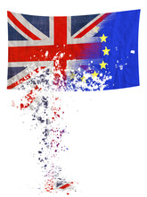 Brexit, EU UK Negotiation Turning To Dust, Falling Apart. Flags Over White.