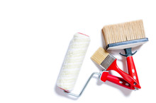 Professional House Painter, Work Tools On A White Background