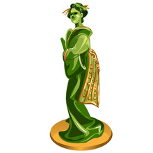 Geisha Figurine Made Of Jade Isolated On White Background. Statuette Of Nephrite In The Oriental Style. Vector Cartoon Close-up Illustration.