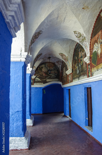 Poster Zuid-Amerika land Colorful walls inside of monastery of St. Catherine at Arequipa, Peru