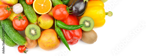 Deurstickers Verse groenten Fruits and vegetables isolated on white background. top view. Free space for text. Wide photo.
