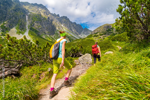 Young active girls hiking in High Tatras mountains, Slovakia Wallpaper Mural