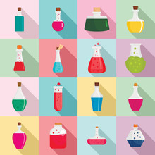 Potion Magic Bottle Icons Set....