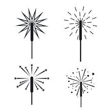 Sparkler Fireworks Bonfire Icons Set. Simple Illustration Of 4 Sparkler Fireworks Bonfire Vector Icons For Web