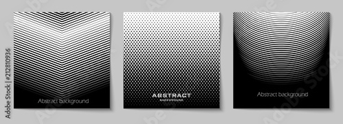 Fotografía  Set of square abstract backgrounds with halftone pattern in black and white colors
